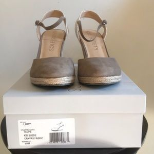 """Sole Society """"Lucy"""" Taupe Closed Toe Cork Wedges"""